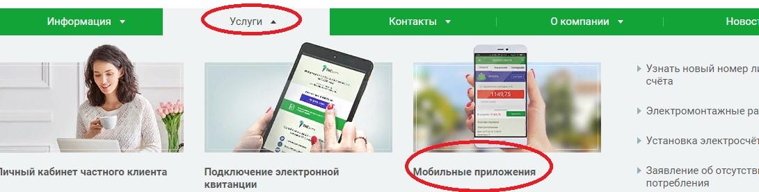 Выбор вкладки «Мобильное приложение»