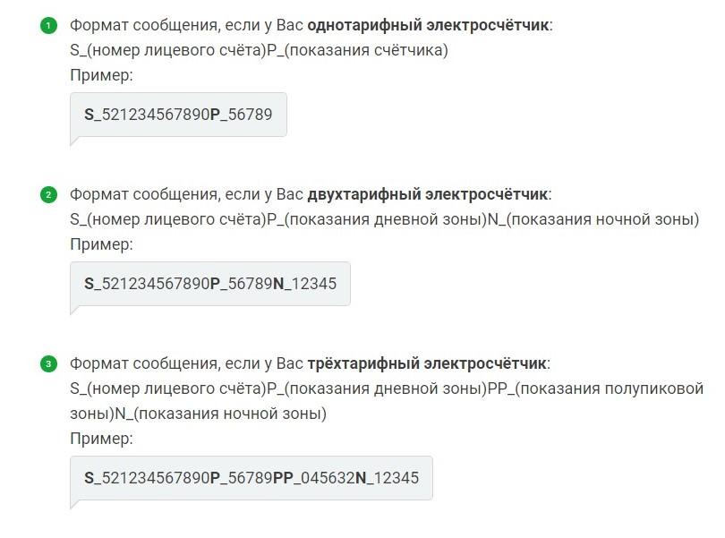 Формат письма для передачи показаний по электронной почте