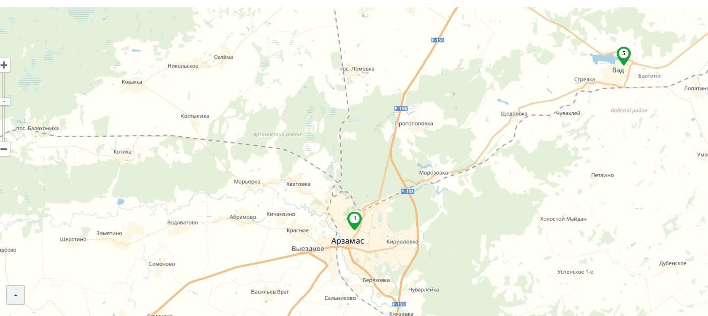 Карта центров обслуживания в Арзамасе